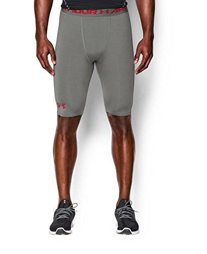 Under Armour Men's HeatGear Armour Compression Shorts - Long, Tan Stone (200), Large