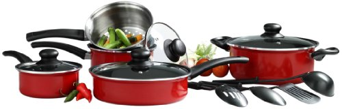 Basic Essentials 13-Piece Aluminum Cookware Set, Red