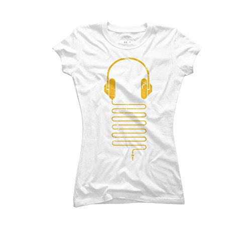 Gold Headphones Women'S Large White Graphic T Shirt - Design By Humans