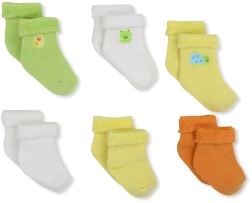 Gerber Unisex-Baby  6 Pack Variety Socks, Yellow/Green, 0-3 Months