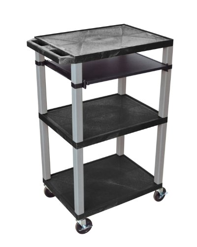 H Wilson Wtps42E-N Flat-Top Presentation Cart With Pull Out Tray, 3 Shelves, Black And Nickel