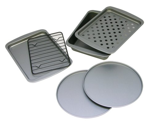 OvenStuff Non-Stick 6-Piece Toaster Oven Baking Pan Set (Small Oven For Baking compare prices)