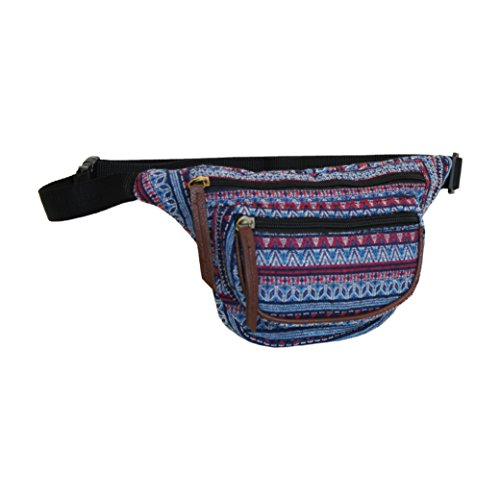 Aztec Blue Fanny Pack, Small Tribal Waist Bag (Hippie Fanny Pack compare prices)