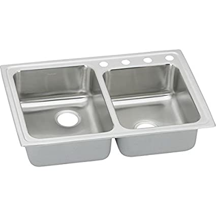 Elkao|#Elkay PSRQ250S2 Elkay Pacemaker 20 Gauge Stainless Steel 33 Inch x 22 Inch x 7.125 Inch Double Bowl Top Mount Quick-Clip Kitchen Sink, 2 Faucet Holes (Middle & Right Corner),