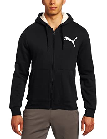 PUMA Men's Hooded Sherpa Hoodie, Black, Small