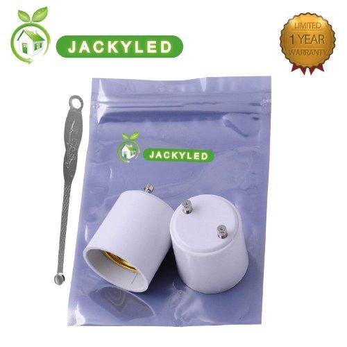 Jacky Led® 10-Pack Gu24 To E26 / E27 Adapters - Converts Your Pin Base Fixture (Gu24) To Standard Screw-In Bulb Socket (E26/E27)