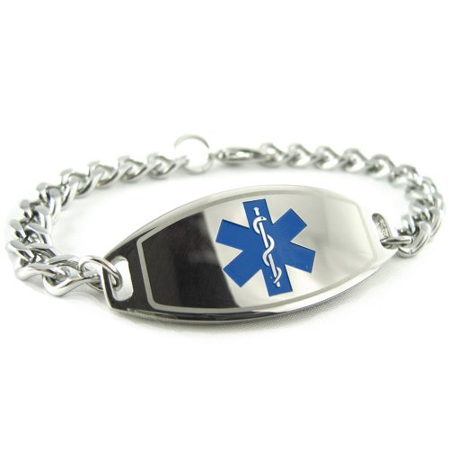 Myiddr - Hypoglycemia Medical Id Bracelet, Blue, Pre-Engraved