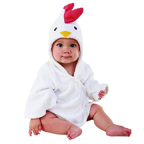 Baby Aspen, Barnyard Bathtime Chicken Hooded Spa Robe, White, 0-9 Months