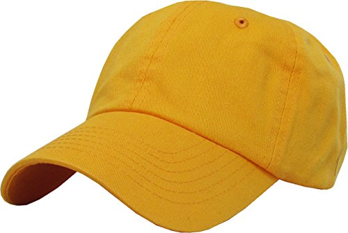 kb-low-yel-classic-cotton-dad-hat-adjustable-plain-cap-polo-style-low-profile-unstructured