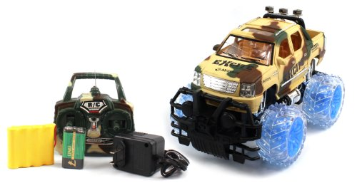 BIG SIZE RECHARGEABLE Electric 1:16 Military Armor Cadillac Escalade EXT RTR RC Truck w/ Light Up Wheels (COLORS MAY VARY) Remote Control Monster Truck!