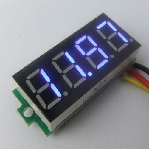 """Riorand 4 Digits 0.36"""" Dc 0V-33.00V Digital Volt Meter Blue Led Voltmeter Car 12/24V Voltage Tester"""