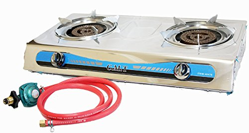 Propane Stainless 2 Double Head Burner Gas Stove 20000 Btu With Gas Regulator