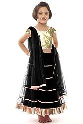 Beautifull Small Girl's Black Lehenga Choli With Dupatta (8-10 Years) Presenting by Sixsense Retailers