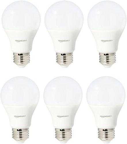 AmazonBasics 60 Watt Equivalent, Soft White, Non-Dimmable, A19 LED Light Bulb, 6-pack