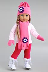 Ice Skating Fun - 6 piece gift set includes pink fleece blouse with stretchy leggings, hat, scarf, mittens and white ice skates - 18 Inch Doll Clothes