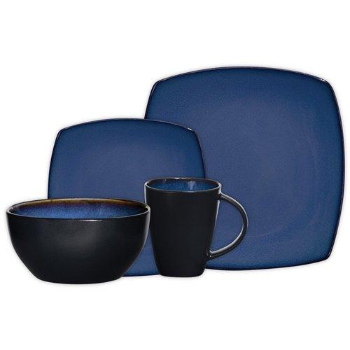 Gibson Soho Lounge Square 16-Piece Dinnerware Set, Blue, Service For 4, Garden, Lawn, Maintenance