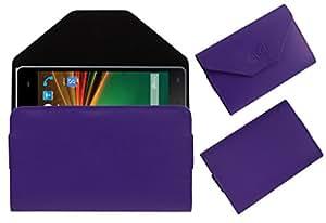 Acm Premium Pouch Case For Lava X11 Flip Flap Cover Holder Purple