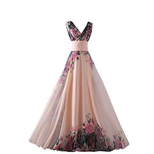 CHENGYANG-Mujeres-Elegantes-V-Cuello-Impresin-Floral-Gasa-Vestidos-De-Fiesta-Largos-De-Noche-para-Bodas