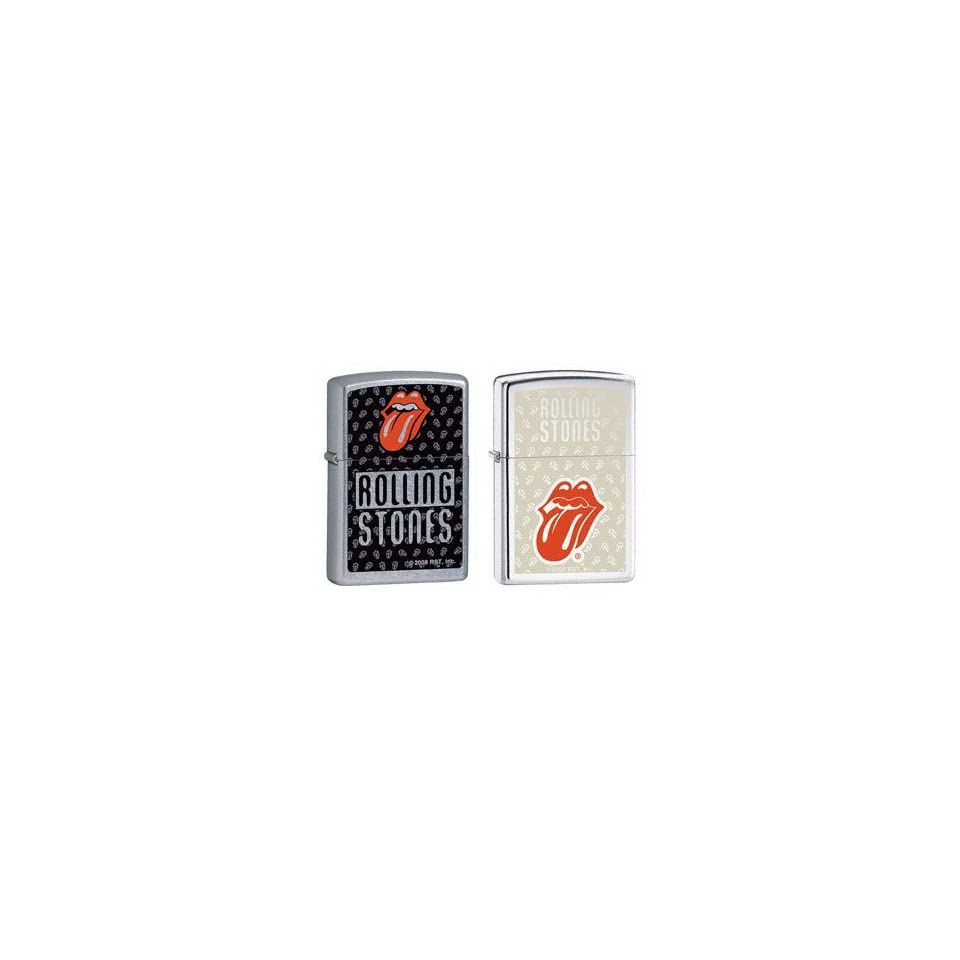 Zippo Lighter Set   Rolling Stones Music Band Red Tongue and Multi Tongue Logo, Pack of Two