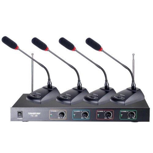 Takstar Tc-4R 4-Channel Vhf Wireless Microphone System (1-Receiver+4-Th)