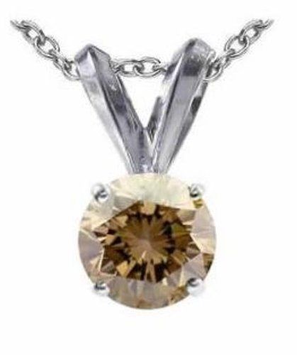1/2CT Round Barbequed Chocolate Brown Diamond Solitaire Pendant Necklace 14k White Gold, 18″ chain Included