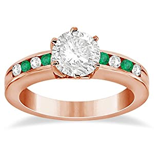 Classic Channel Set Diamond and Emerald Women's Engagement Ring Setting 14K Rose Gold 0.40ct