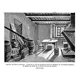 Grabado antiguo (1897) - Xilografía - Santa Águeda (Guipúzcoa).- Cuarto De La Casa De Telégrafos Donde Fue Encerrado...