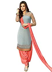 Rozdeal New Light Sky & Coral Georgette Designer Patiala Suit