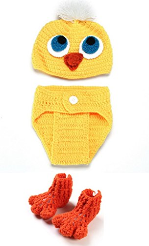Bigood(TM) Newborn Girl Boy Crochet Clothes Baby Photograph Props Yellow Chicken