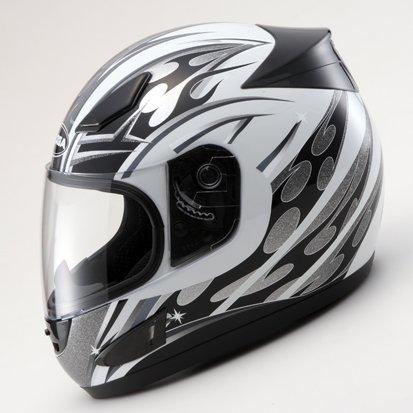 RYOGAグラフィックフルフェイスヘルメット◆トライバル(RX2)ホワイトXLサイズ