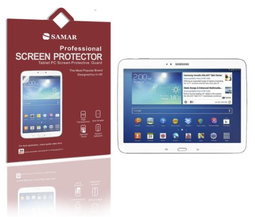 Samar Displayschutzfolie für Samsung Galaxy Tab 3 (Einzelhandelsverpackung, inklusive Mikrofaser-Reinigungstuch) 3 Stück Crystal Clear 25,7 cm