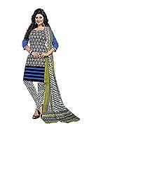 Balaji Womens Cotton Unstitched Dress Material(5117+White+Free Size)