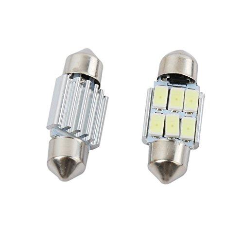 31Mm De3175 5630 6-Smd Led Festoon Dome License Plate Light Car Bulb Pure White 2-Pack