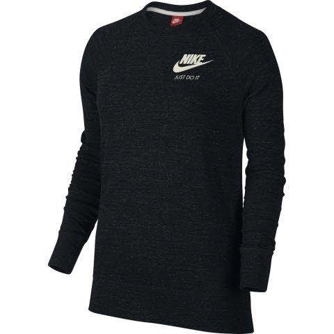 Nike Women's Gym Vintage Crew Shirt, Black/Sail, Large