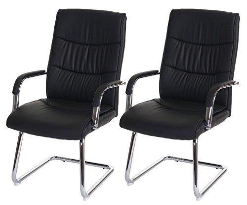 Set 2x sedie ufficio conferenza a slitta Saragozza 71x59x105cm ecopelle ~ nero