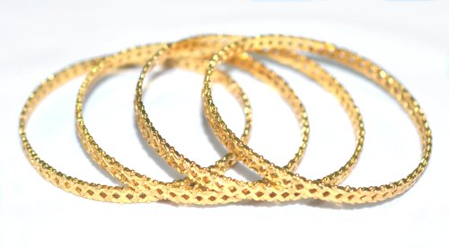Ball Prasiddh Sands Golden Filled Holed Ball Studded Bangles (Set Of 4), Size- 2.6 (Beige\/Sand\/Tan)