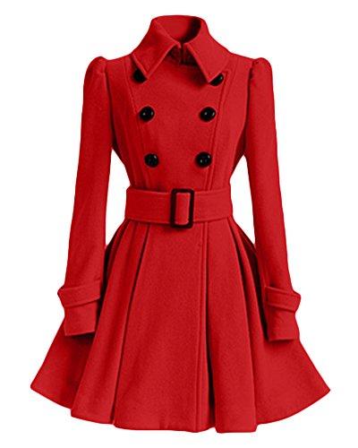 Donne Cappotti Puro Colore Splice Cintura Addensare Al Caldo Manica Parka Rosso M