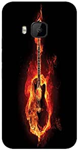 Timpax Slip-resistant, stain-resistant and tear-resistant Hard Back Case Cover Printed Design : Guitar on fire.Specifically Design For : HTC-M9 ( M-Nine)