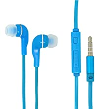 buy For Android Cell Phone 3.5Mm Blue Color Audio Earphone Headphones Headset Earbuds Volume Control With Microphone Hands Free For Asus Memo Pad Fhd 10