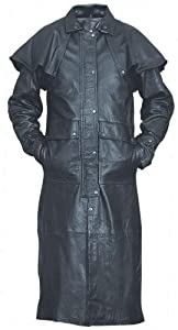 Goatskin Leather Coat Duster with Zip-out liner, Leg-straps, and Removable Cape