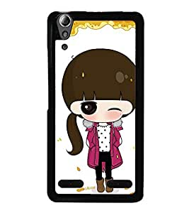 Fuson Premium 2D Back Case Cover Cute Winkling girl With Multi Background Degined For Lenovo A6000 Plus