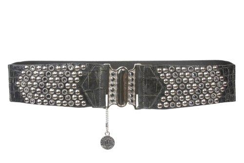 "2 1/2"" Wide High Waist Swarovski Crystal Studs Alligator Fashion Stretch Belt Size: S/M 31"" ~ 42"" Color: Black"