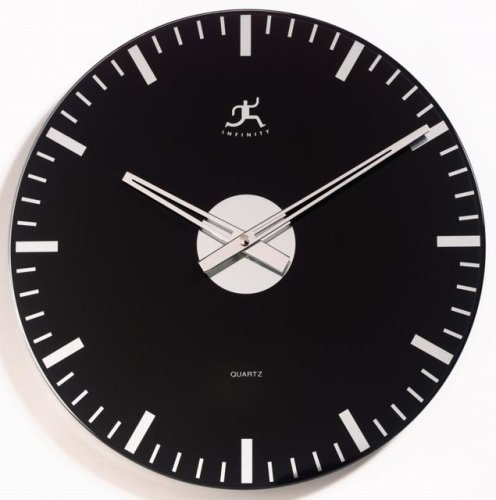 Infinity Instruments Black Night - Mirrored Glass Wall Clock