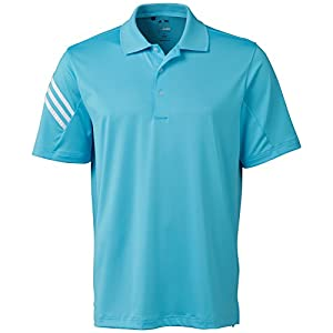 adidas Golf Men's Pure Motion Climacool 3-Stripes Sleeve Polo Shirt, Bright Cyan/White, X-Large