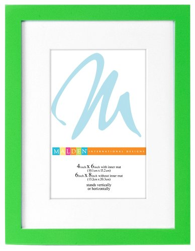 Malden International Designs Matted Bright Woods Picture Frame, HoldS 4 by 6-Inch Matted to 6 by 8-Inch Matted Photos, Beach Green