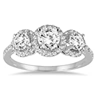 1 1/3 Carat Diamond Three Stone Halo…
