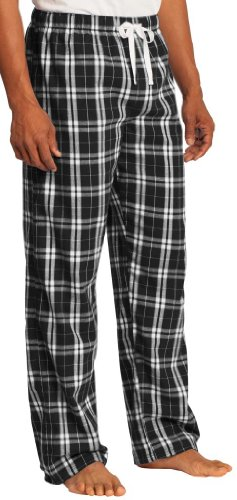 Yoga Clothing For You Mens Cotton Flannel Plaid Pant, 4Xl Black