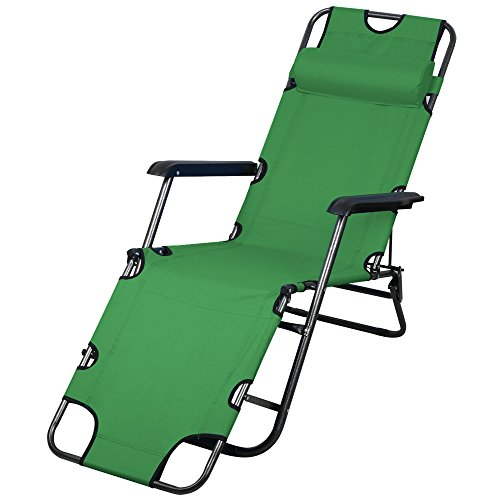 Best Deals Topeakmart Patio Folding Recliner Lounge Chair Chaise Army gree
