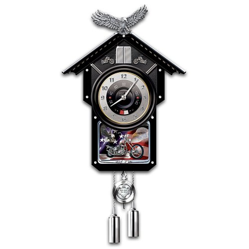 Motorcycle-Themed Collectible Wooden Cuckoo Clock: Time Of Freedom by The Bradford Exchange