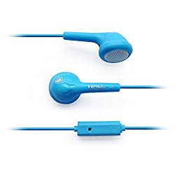 MQbix MQGT25BLU Flexible Gel Type Earphones with Mic, Blue